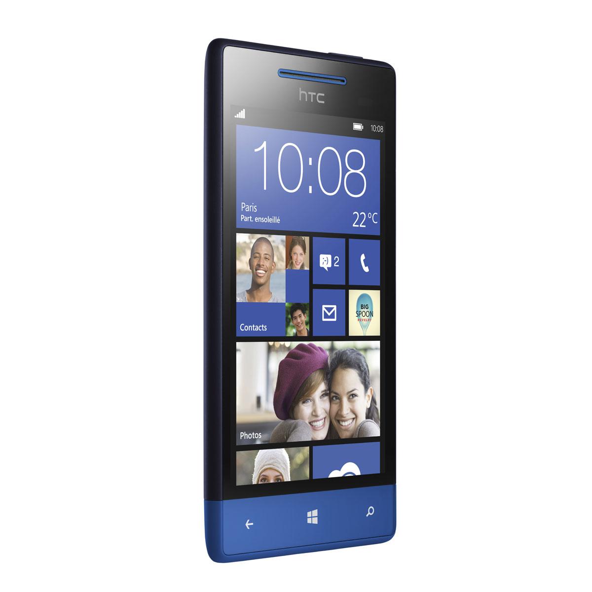 "Mobile & smartphone HTC Windows Phone 8S Bleu  Smartphone 3G+ avec écran tactile 4"" sous Windows Phone 8"