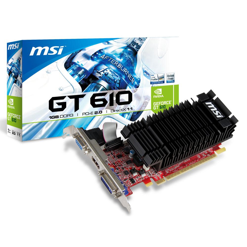 Carte graphique MSI N610-1GD3H/LP 1 GB 1 Go HDMI/DVI - PCI Express (NVIDIA GeForce avec CUDA GT 610)