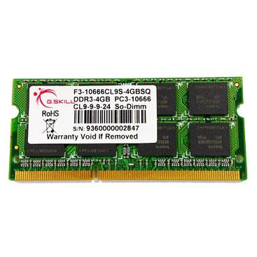 Mémoire PC portable G.Skill SODIMM 4 Go DDR3 1600 MHz G.Skill SODIMM 4 Go DDR3-SDRAM PC3-12800 - F3-12800CL9S-4GBSQ (garantie 10 ans par G.Skill)