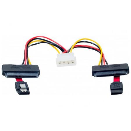 Serial ATA Câble SATA 2-en-1 avec alimentation Molex (pour 2 HDD ou SSD) Cordon Serial ATA (données + alimentation) vers Serial ATA (données) + Molex
