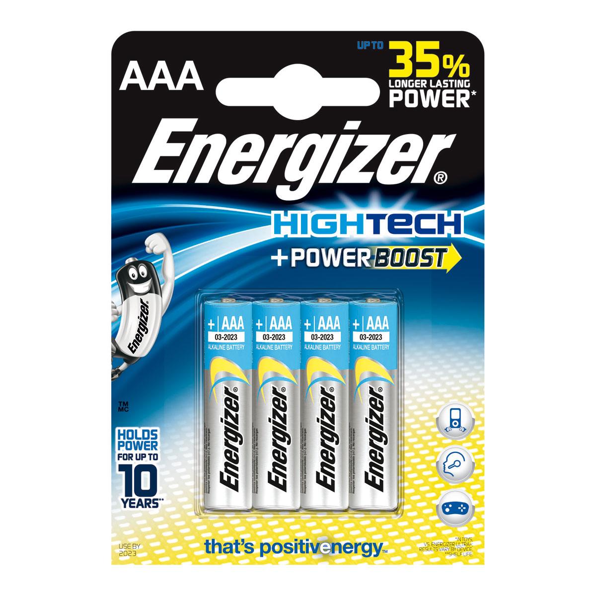 Pile & accu Energizer HighTech PowerBoost AAA (par 4) Pack de 4 piles alcalines AAA (LR03) à hautes performances