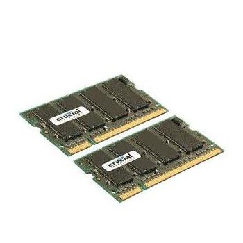 Mémoire PC portable Crucial SO-DIMM 2 Go (2x 1 Go) DDR2 667 MHz CL5 Kit Dual Channel RAM SO-DIMM DDR2 PC5300 - CT2KIT12864AC667 (garantie 10 ans par Crucial)
