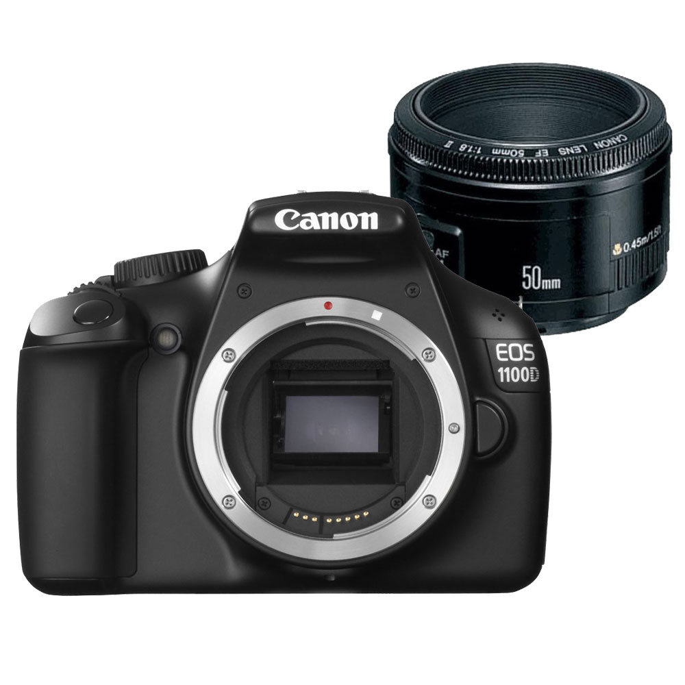 Canon eos 1100d canon ef 50mm f 1 8 ii appareil photo for Objectif miroir 50mm