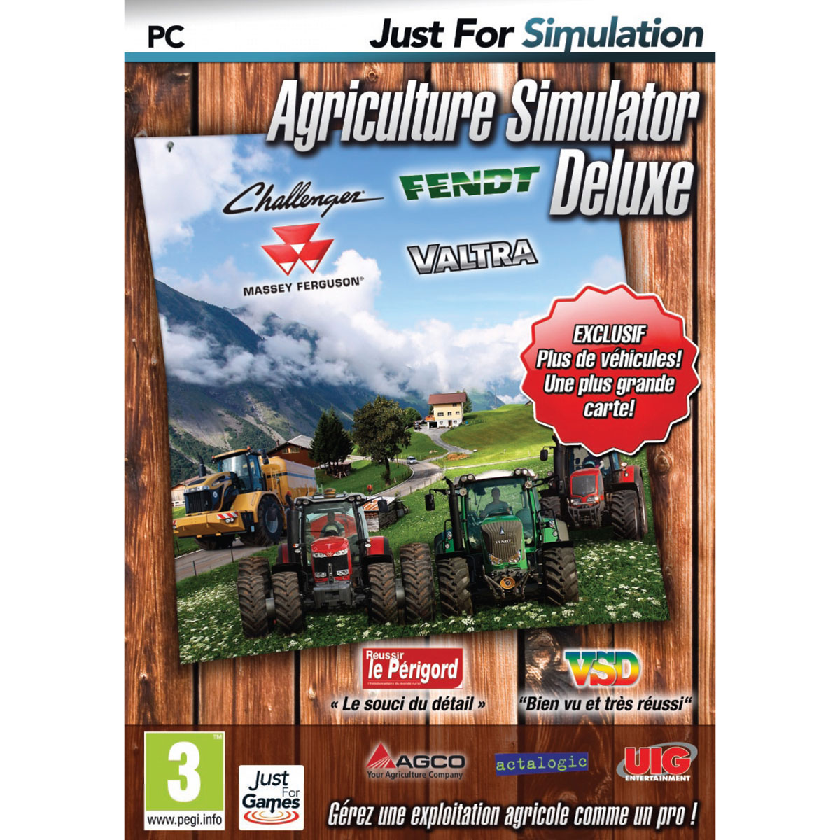 agriculture simulator deluxe pc jeux pc just for games sur. Black Bedroom Furniture Sets. Home Design Ideas
