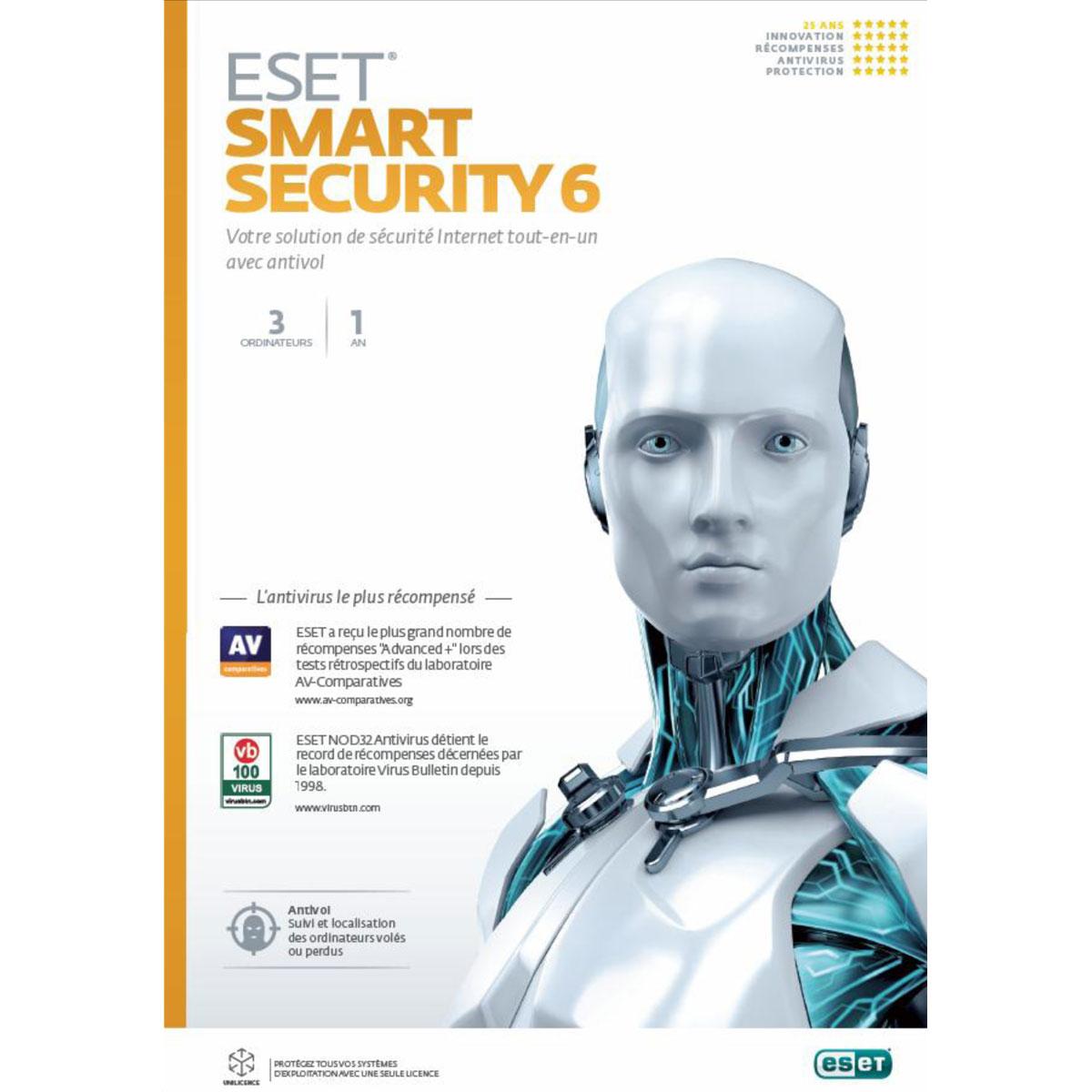Logiciel antivirus ESET Smart Security 6 - Licence 1 an 3 postes (français, WINDOWS) Suite de sécurité complète - Licence 1 an 3 postes (français, WINDOWS)