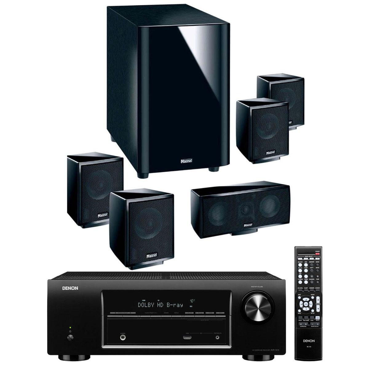 Ensemble home cinéma Denon AVR-1513 Noir + Magnat Interior 5001 A Ampli-tuner Home Cinéma 5.1 3D Ready avec HDMI en façade + Pack d'enceintes 5.1