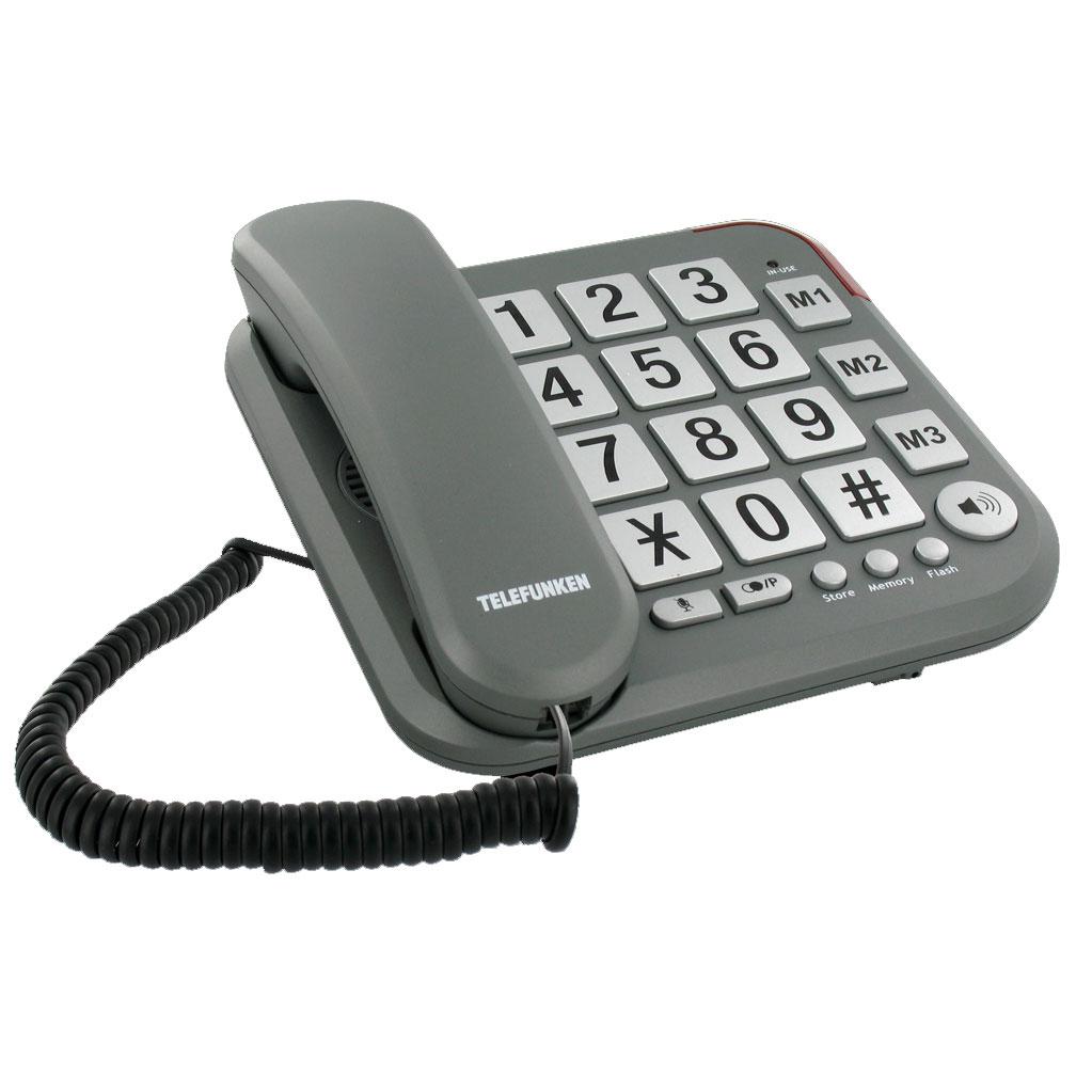 Téléphone filaire Telefunken TF 401 Cosi Téléphone filaire à grosses touches