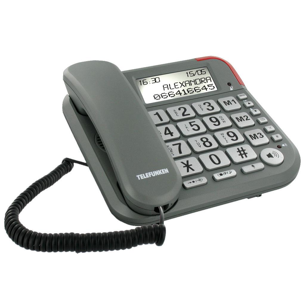 Téléphone filaire Telefunken TF 501 Cosi Téléphone filaire à grosses touches