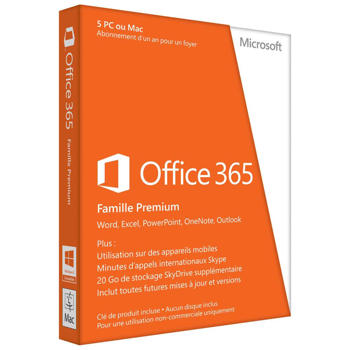 Logiciel suite bureautique Microsoft Office 365 Famille Premium Licence 1 utilisateur pour 5 PC ou Mac du même foyer - Abonnement 1 an (carte d'activation)