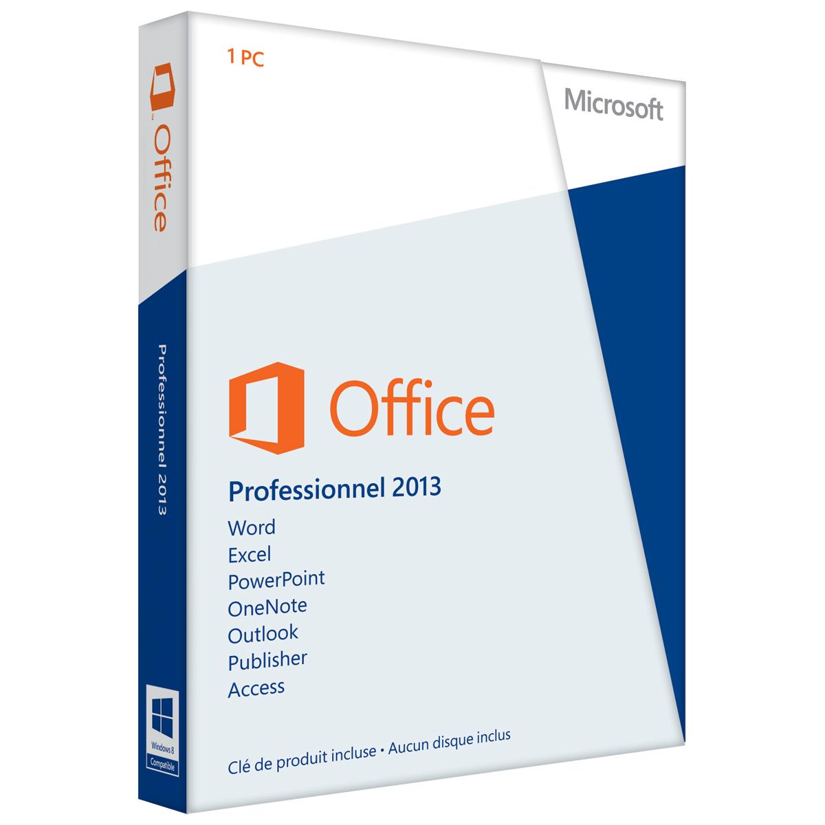 Logiciel Bureautique Microsoft Office Professionnel 2013 Licence 1 Utilisateur Pour PC Carte D
