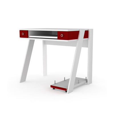 elmob computer desk cd 210 05 blanc rouge meuble ordinateur elmob sur. Black Bedroom Furniture Sets. Home Design Ideas