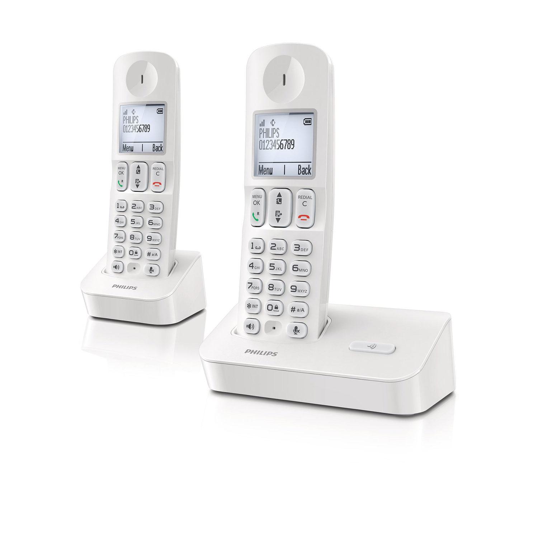 philips d4002 duo blanc t l phone sans fil philips sur. Black Bedroom Furniture Sets. Home Design Ideas
