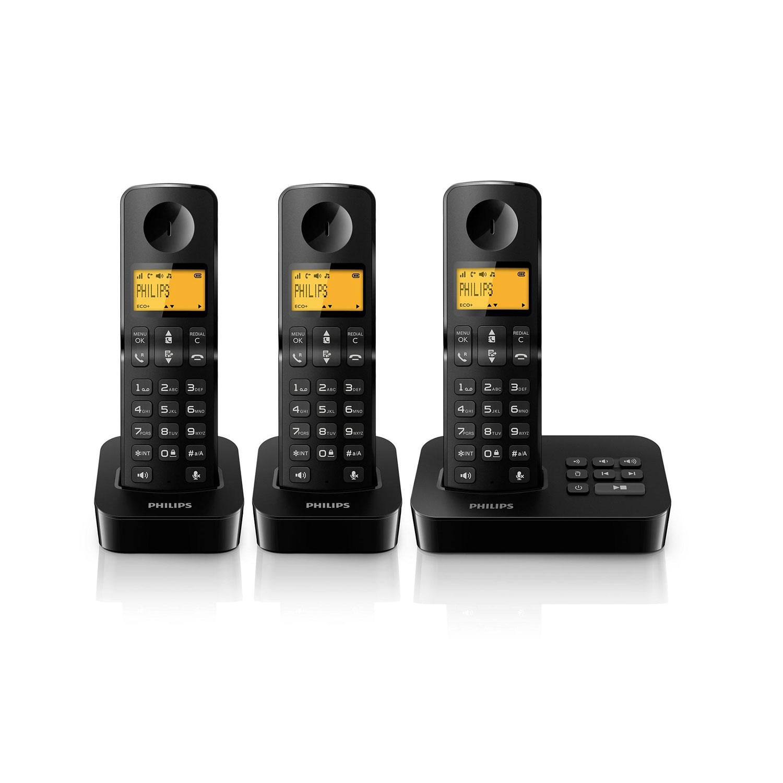 philips d2053 trio noir t l phone sans fil philips sur. Black Bedroom Furniture Sets. Home Design Ideas