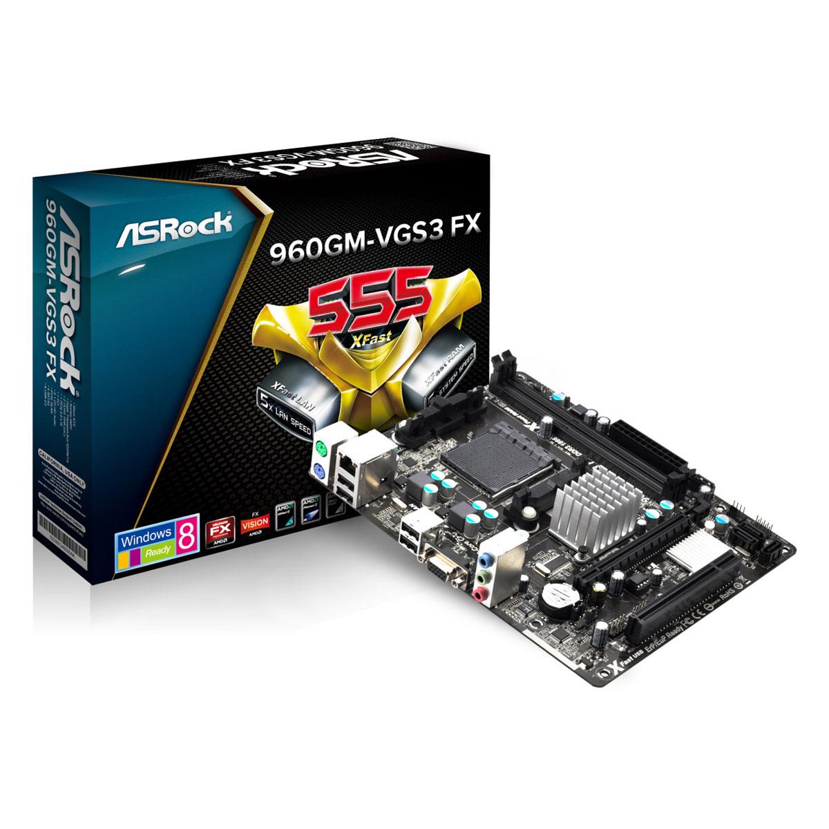 Carte mère ASRock 960GM-VGS3 FX Carte mère Micro ATX Socket AM3/AM3+ AMD Radeon 3000 Vidéo intégrée - SATA 3Gb/s - USB 2.0