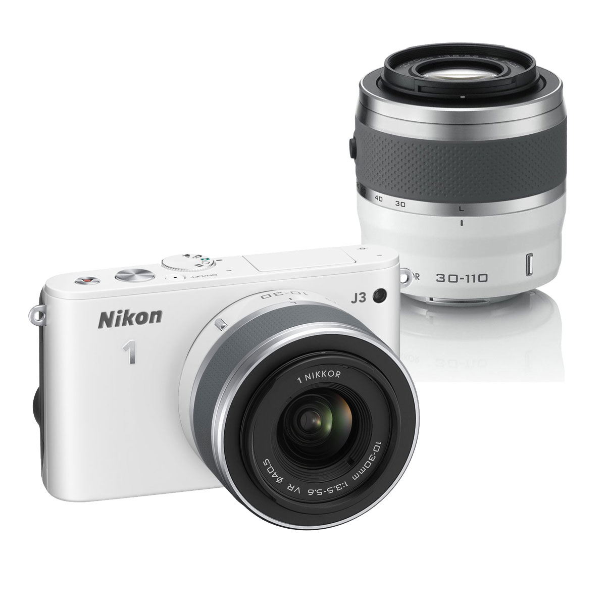 nikon 1 j3 kit zoom avec deux objectifs blanc appareil. Black Bedroom Furniture Sets. Home Design Ideas
