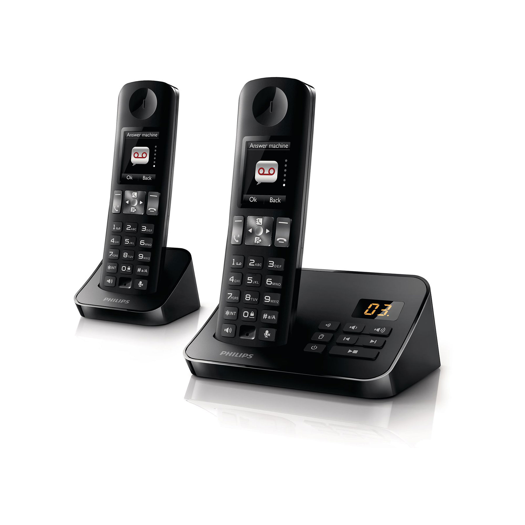 philips d6052 duo noir t l phone sans fil philips sur. Black Bedroom Furniture Sets. Home Design Ideas