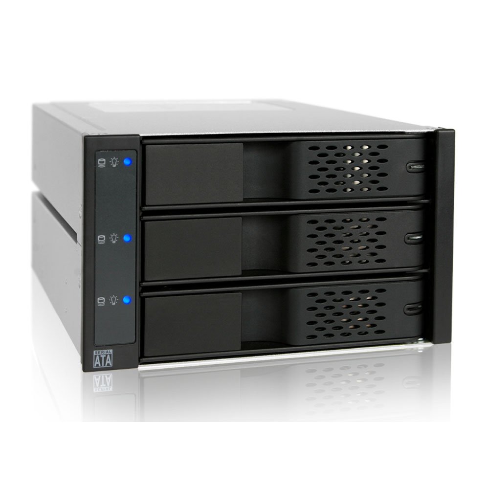 """Rack HDD interne ICY DOCK MB973SP-1B Rack multifonctions pour 3 disques durs 3""""1/2 Serial ATA dans 2 baies 5""""1/4"""