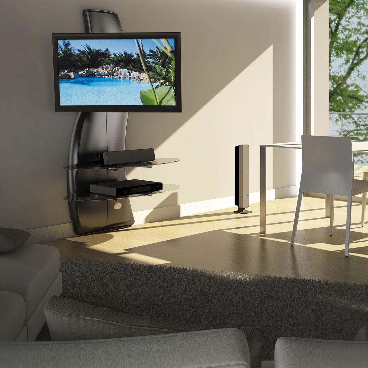 meliconi ghost design 2000 rotation noir meuble tv. Black Bedroom Furniture Sets. Home Design Ideas