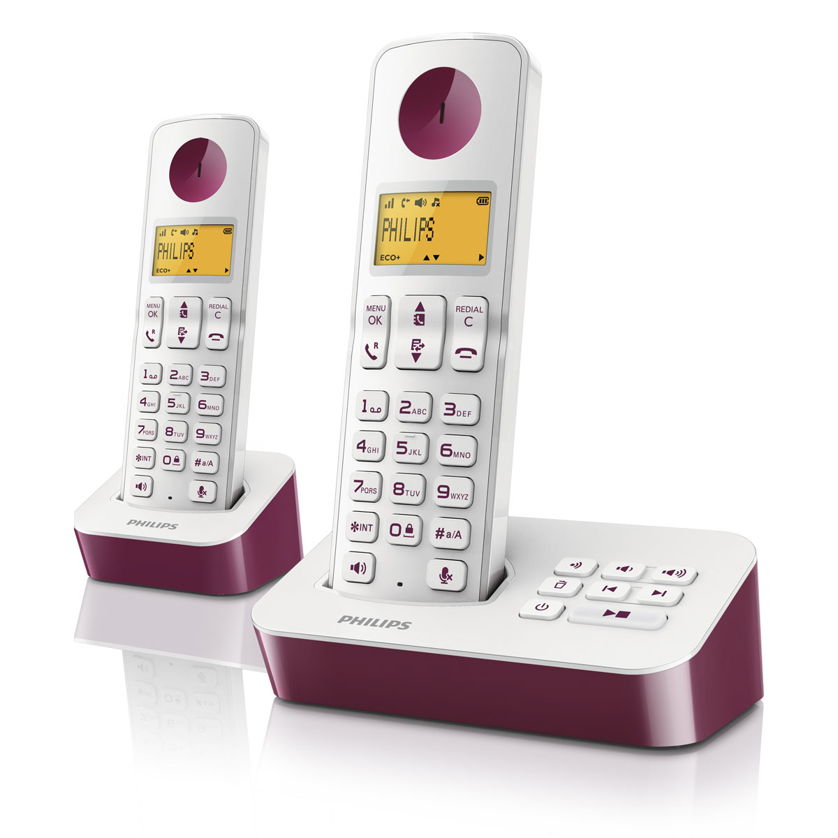 philips d2052 duo violet t l phone sans fil philips sur. Black Bedroom Furniture Sets. Home Design Ideas