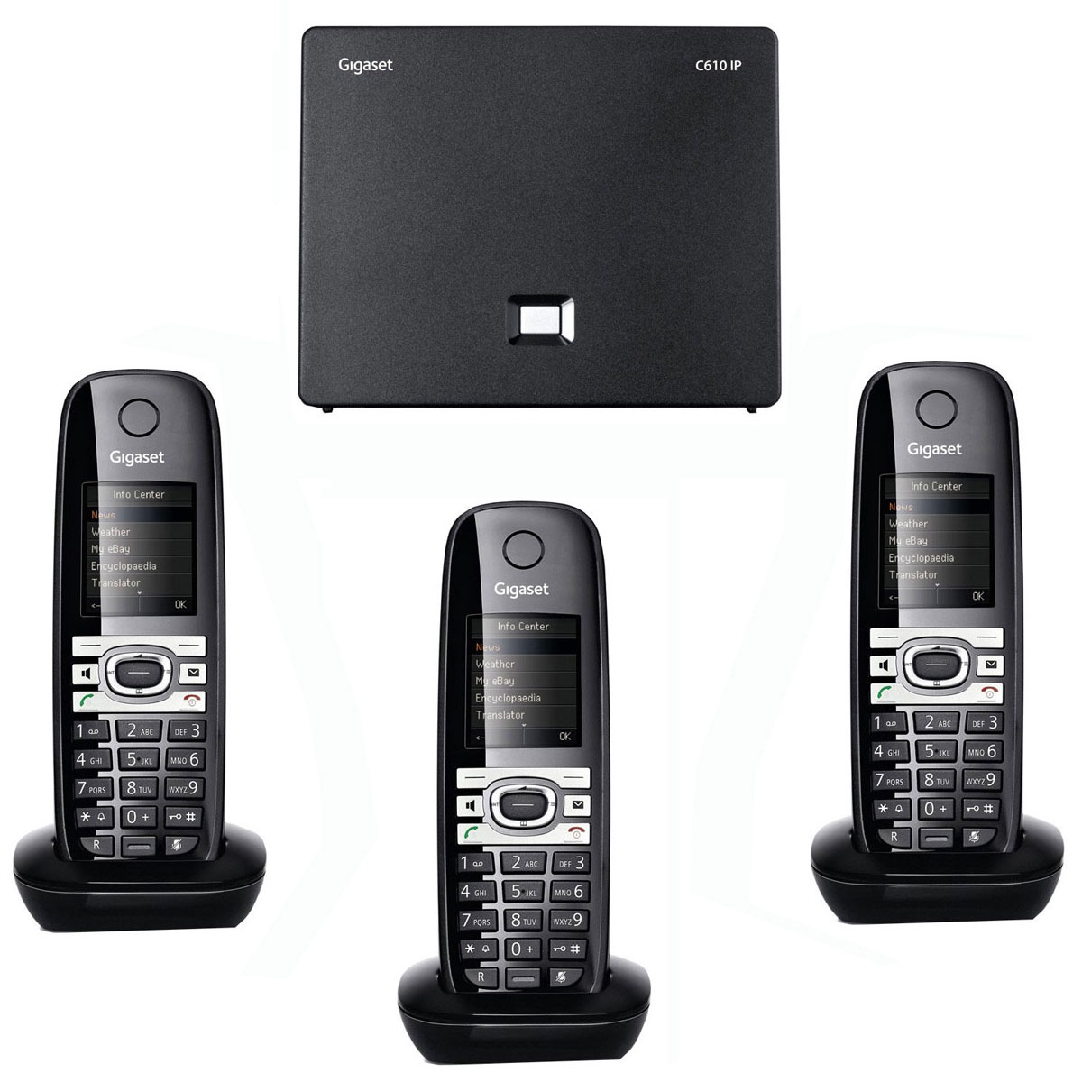Téléphonie VoIP Gigaset C610IP Trio Téléphone sans fil DECT avec 2 combinés supplémentaire (Version Française)