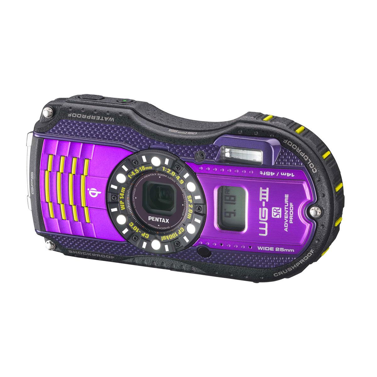 Appareil photo numérique Pentax Optio WG3-GPS Violet Appareil photo baroudeur 16 MP - Zoom grand-angle 4x - Vidéo Full HD - GPS