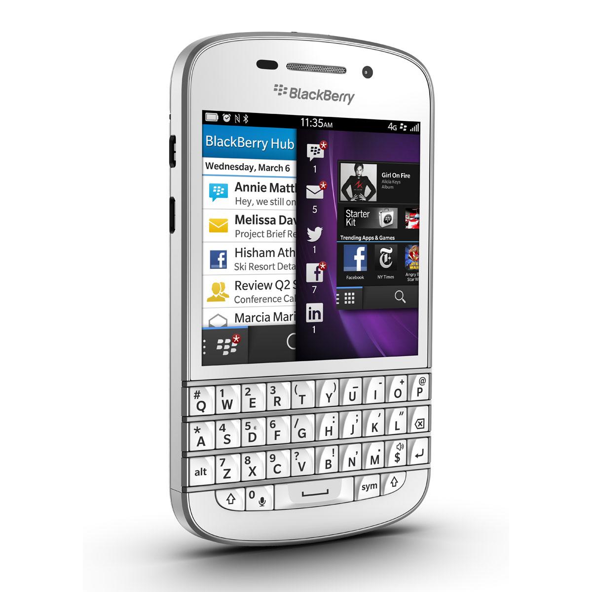 Blackberry q10 qwerty blanc mobile smartphone for Photo ecran blackberry