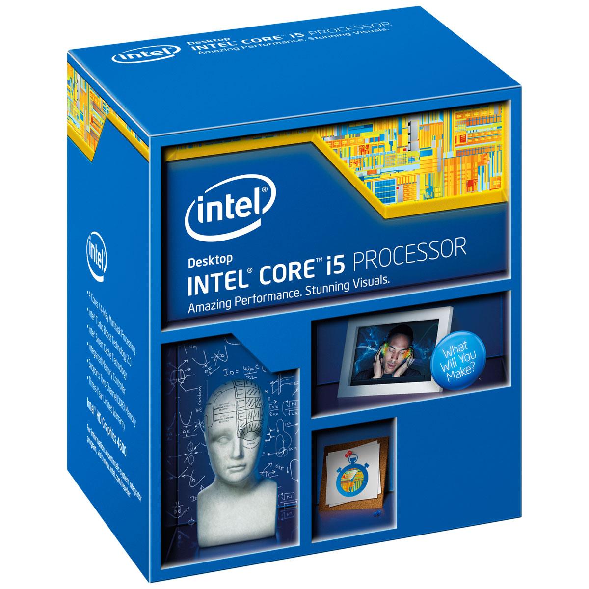 Processeur Intel Core i5-4590 (3.3 GHz) Processeur Quad Core Socket 1150 Cache L3 6 Mo Intel HD Graphics 4600 0.022 micron (version boîte - garantie Intel 3 ans)