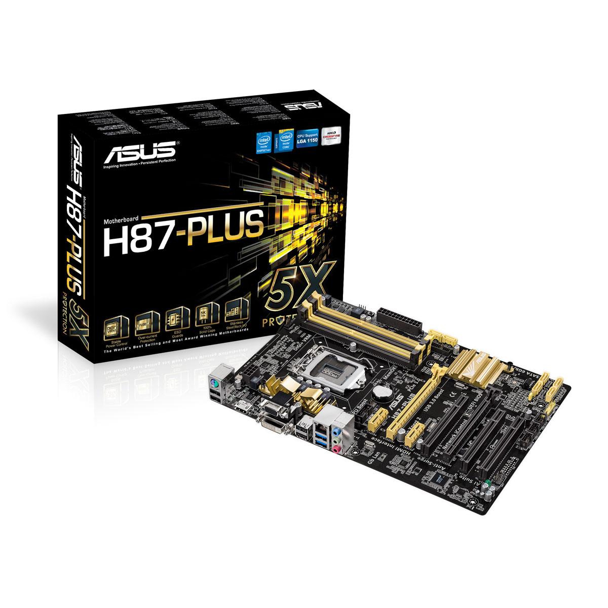 Carte mère ASUS H87-PLUS C2 Carte mère ATX Socket 1150 Intel H87 Express - SATA 6Gb/s - USB 3.0 - 1x PCI-Express 3.0 16x + 1x PCI-Express 2.0 16x