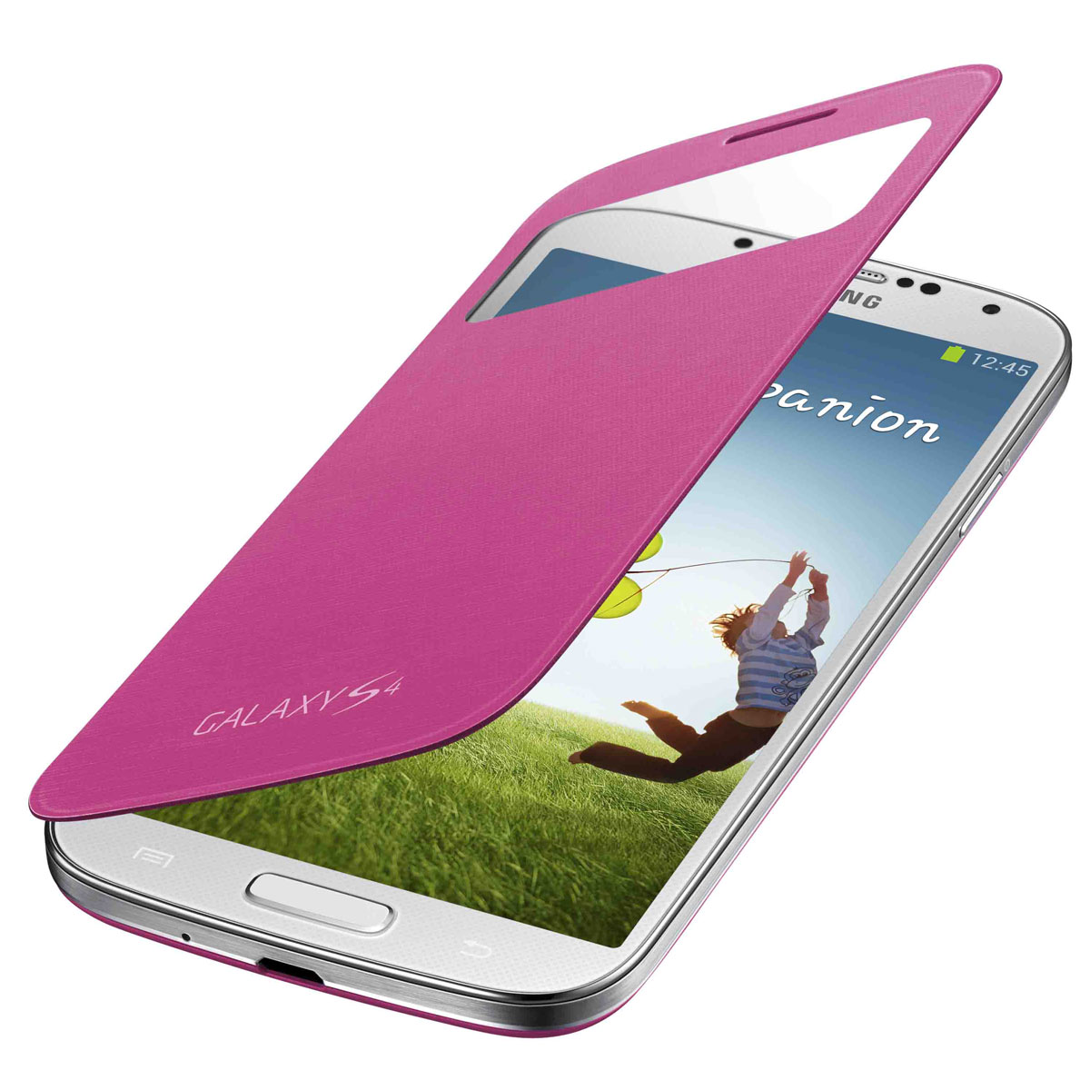 Etui téléphone Samsung S-View Rose Samsung Galaxy S4 Etui folio pour Samsung Galaxy S4 GT-i9500/9505