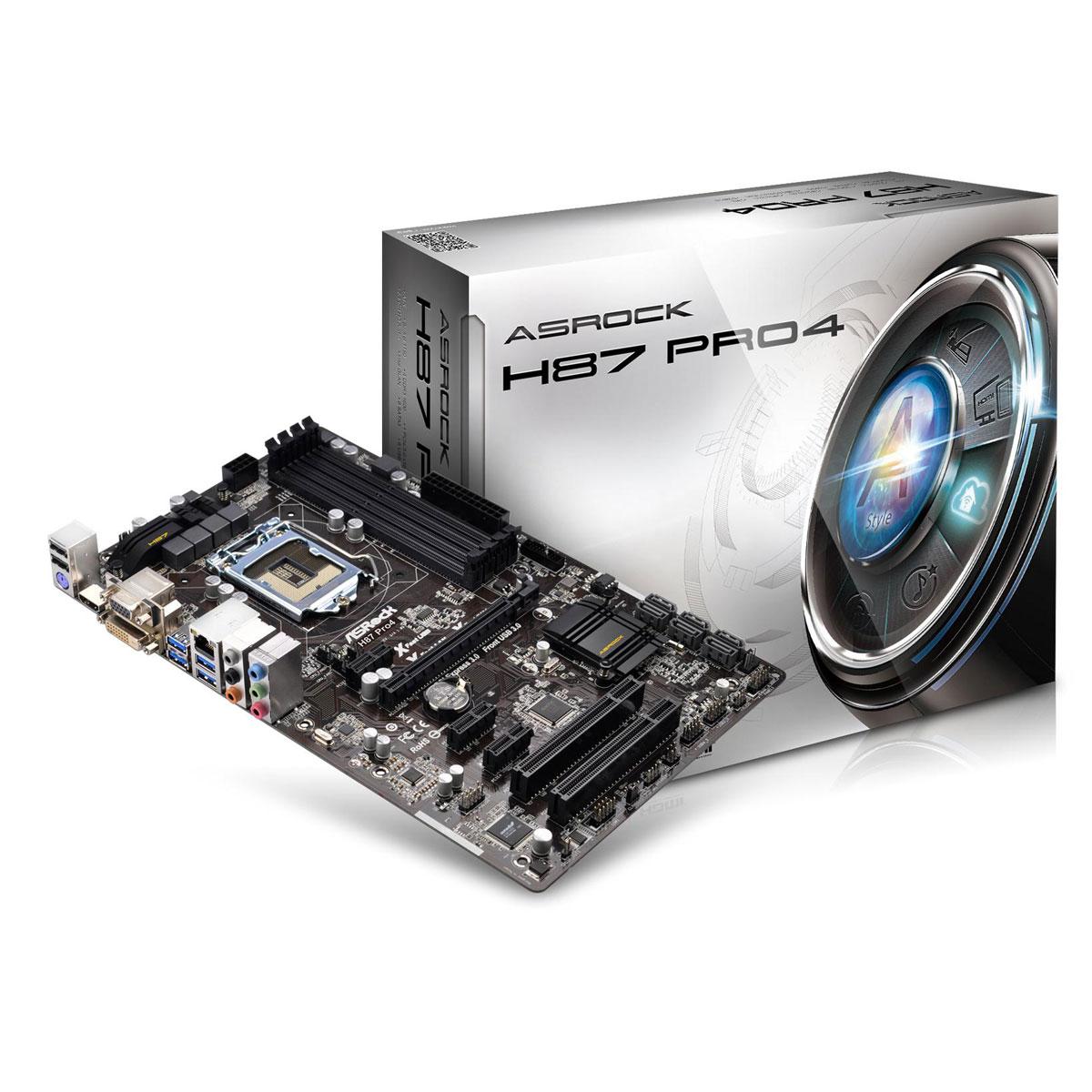 Carte mère ASRock H87 Pro4 Carte mère ATX Socket 1150 Intel H87 Express - SATA 6Gb/s - USB 3.0 - 1x PCI-Express 3.0 16x