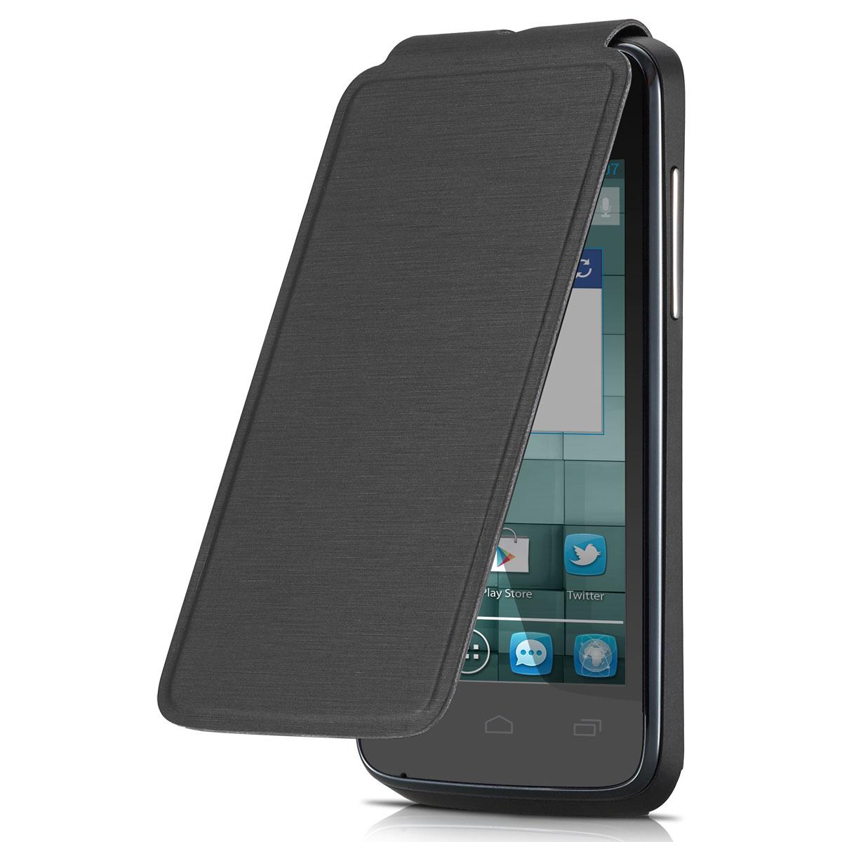 Etui téléphone Alcatel Flip Cover Noir Alcatel One Touch M'Pop Etui folio pour Alcatel One Touch M'Pop