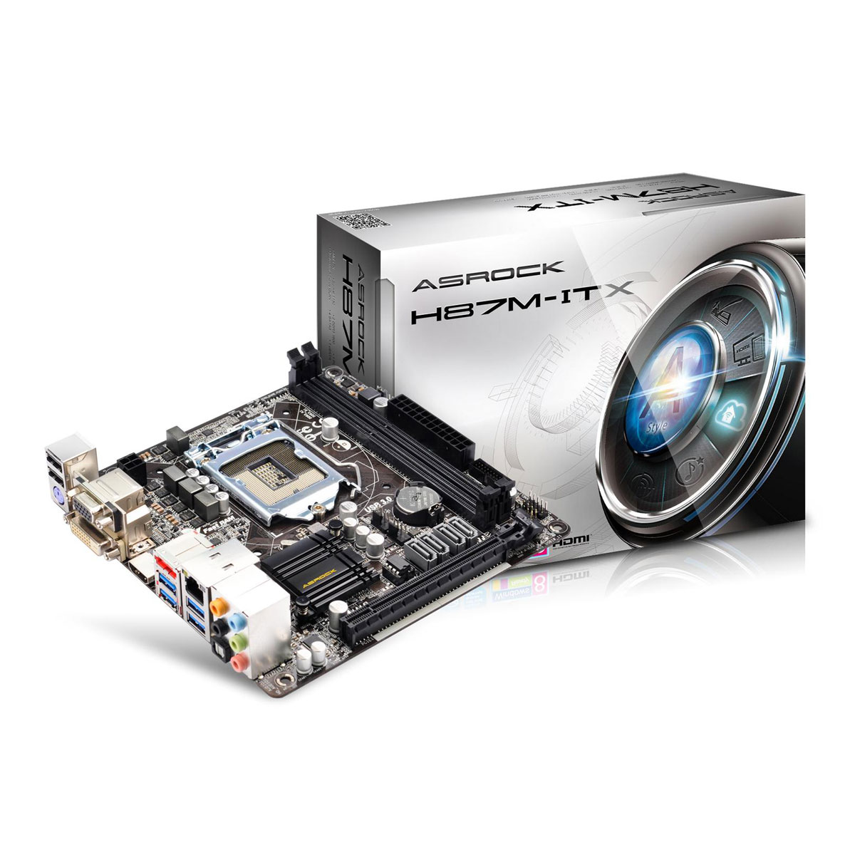Carte mère ASRock H87M-ITX Carte mère Mini ITX Socket 1150 Intel H87 Express - SATA 6Gb/s - USB 3.0 - 1x PCI-Express 3.0 16x