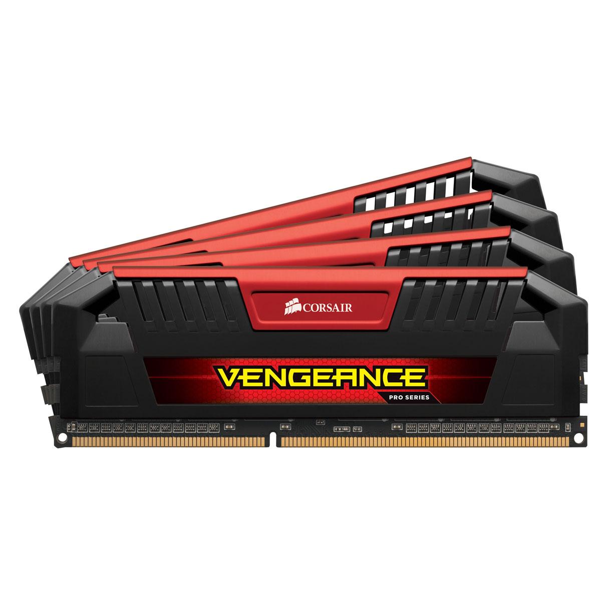 Mémoire PC Corsair Vengeance Pro Series 16 Go (4 x 4 Go) DDR3 2666 MHz CL12 Red Kit Quad Channel RAM DDR3 PC3-21300 - CMY16GX3M4A2666C12R (garantie à vie par Corsair)