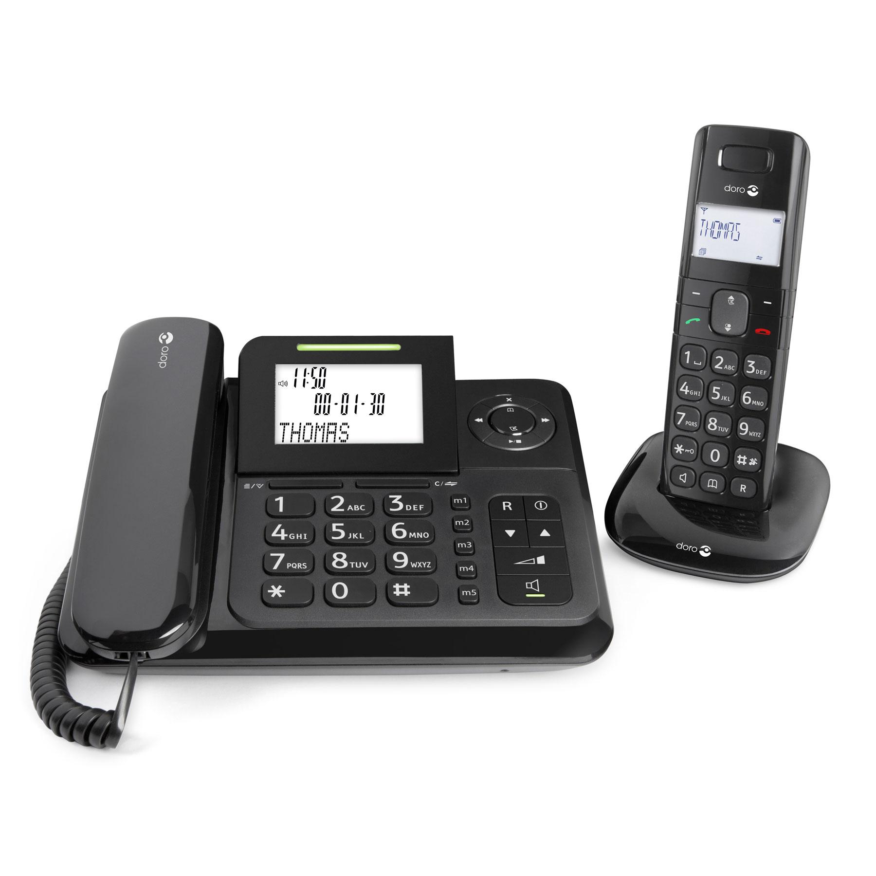 Téléphone filaire Doro Comfort 4005 Téléphone filaire + téléphone sans fil DECT avec répondeur intégré