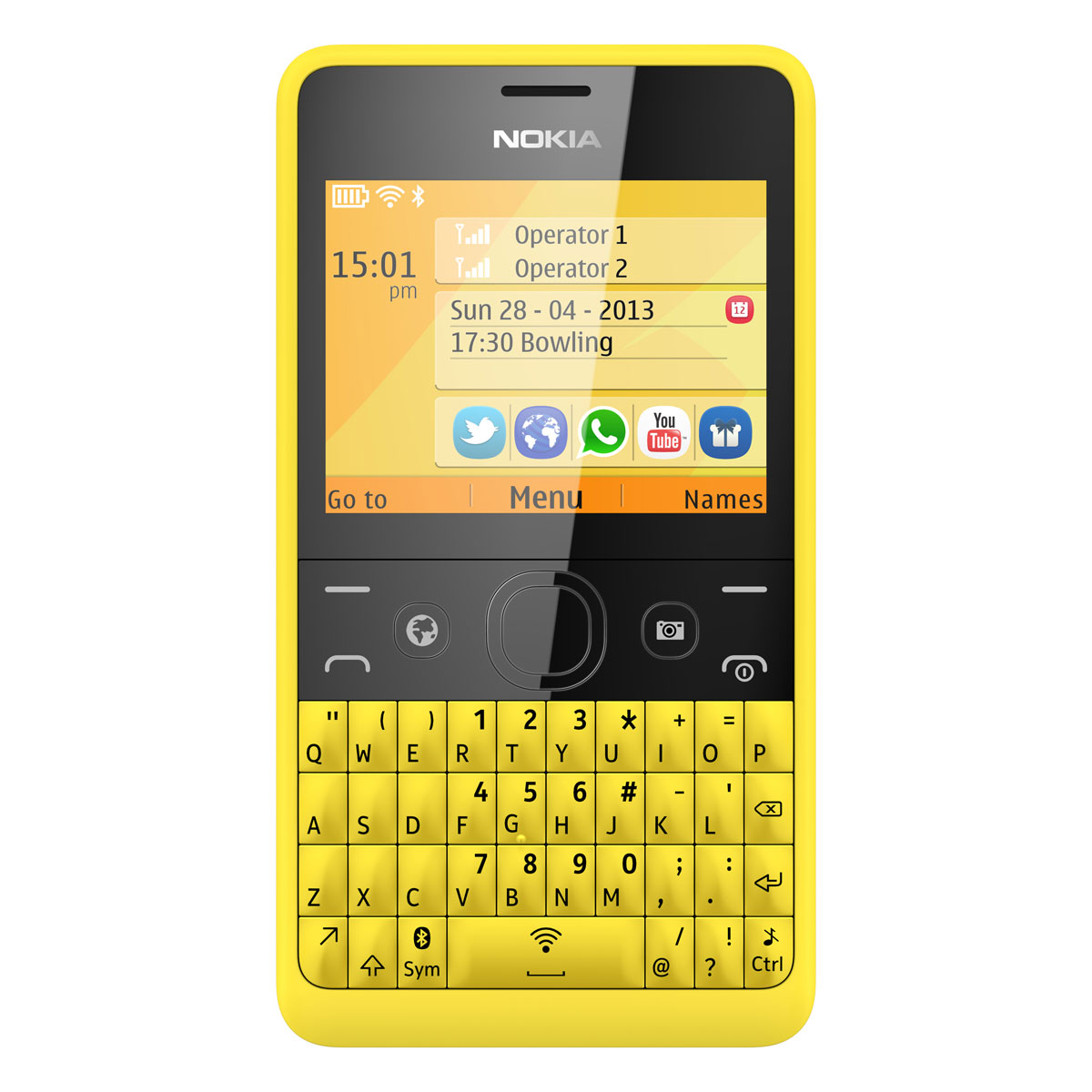 nokia asha 210 double sim jaune mobile smartphone nokia sur. Black Bedroom Furniture Sets. Home Design Ideas