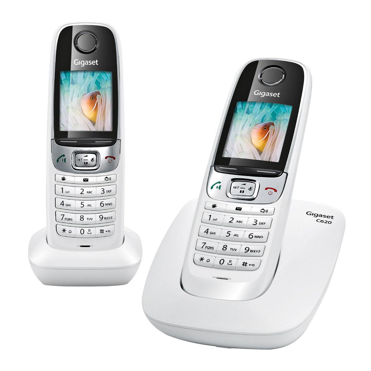 Téléphone sans fil Gigaset C620 Duo Blanc Téléphone DECT sans fil avec combiné supplémentaire (version française)