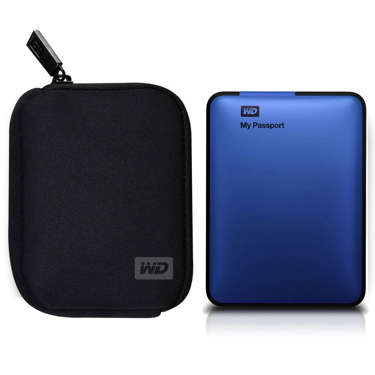 Western digital my passport 500 go bleu my passport for Housse disque dur externe 3 5