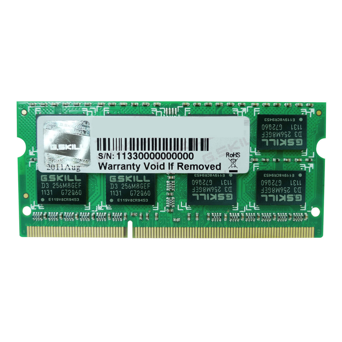 Mémoire PC portable G.Skill SO-DIMM 4 Go DDR3 1600 MHz CL11 RAM SO-DIMM PC3-12800 - F3-1600C11S-4GSL (garantie à vie par G.Skill)