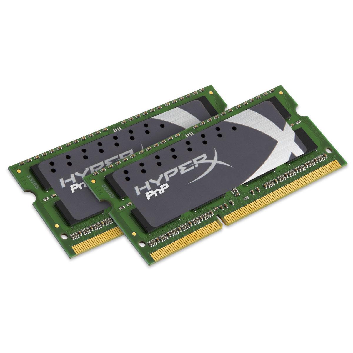 Mémoire PC Kingston HyperX PnP SO-DIMM 8 Go (2 x 4 Go) DDR3 1600 MHz CL9 Kit Dual Channel RAM SO-DIMM DDR3 PC3-12800 - KHX16LS9P1K2/8 (garantie à vie par Kingston)