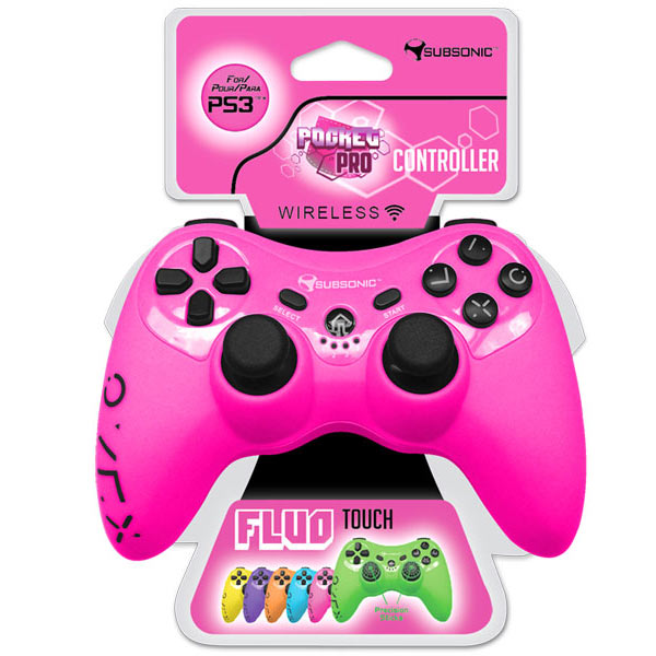 subsonic pro controller fluo collection rose ps3 accessoires ps3 subsonic sur. Black Bedroom Furniture Sets. Home Design Ideas