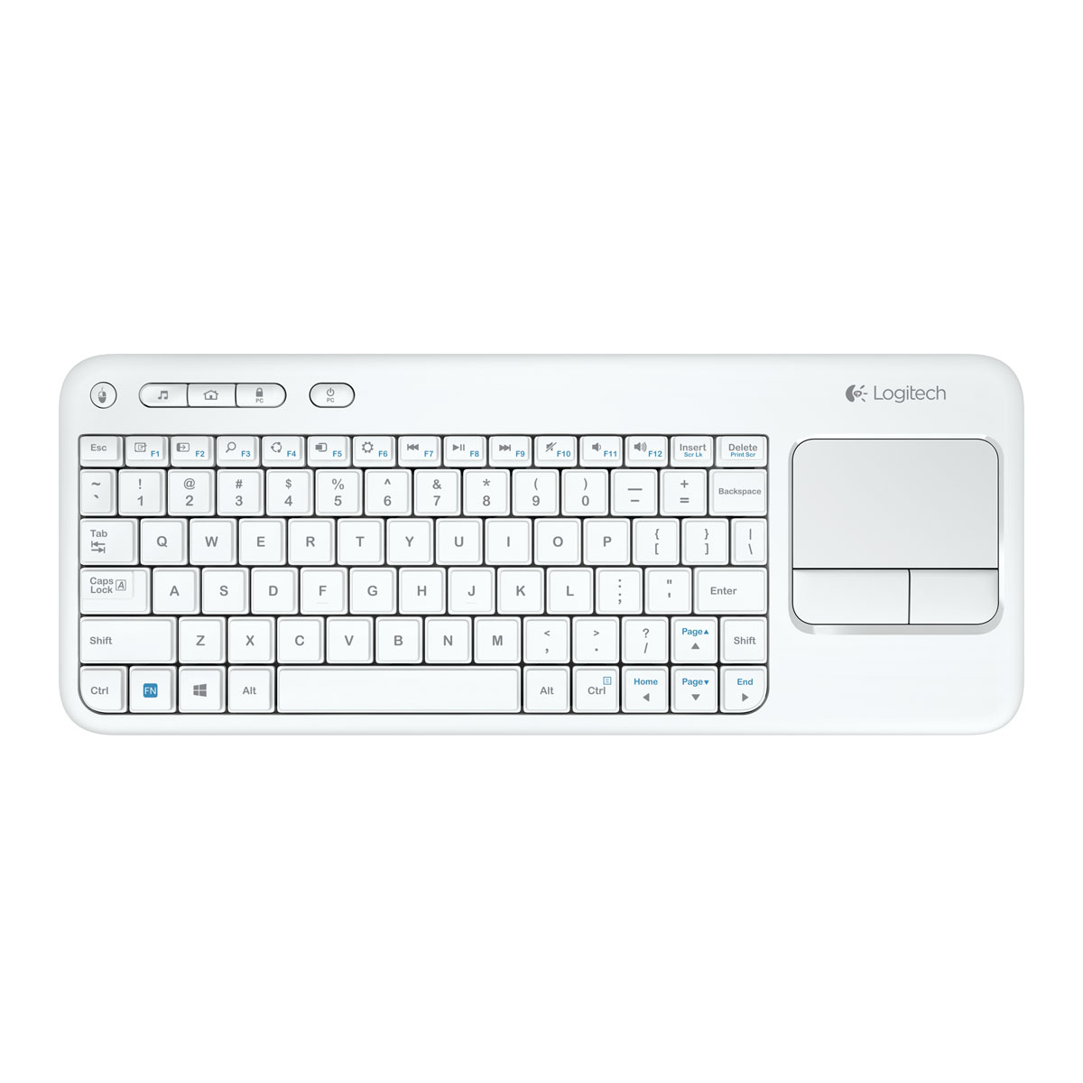 logitech wireless touch keyboard k400 blanc clavier pc logitech sur. Black Bedroom Furniture Sets. Home Design Ideas