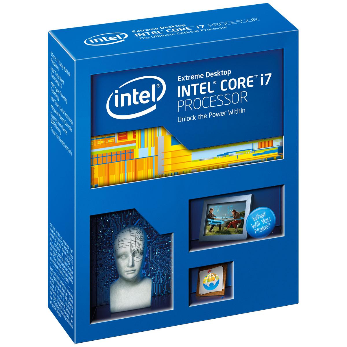 Processeur Intel Core i7-5930K (3.5 GHz) Processeur 6-Core Socket 2011-3 Cache L3 15 Mo 0.022 micron TDP 140W (version boîte sans ventilateur - garantie Intel 3 ans)