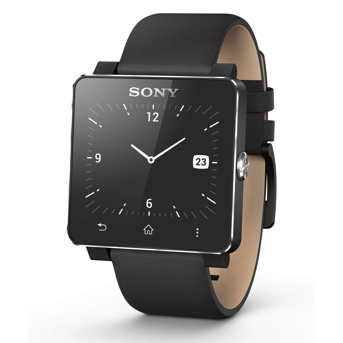 sony bracelet pour smartwatch 2 cuir noir montre. Black Bedroom Furniture Sets. Home Design Ideas