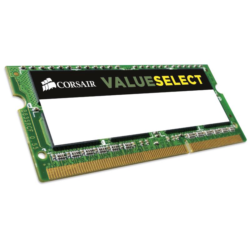Mémoire PC portable Corsair Value Select SO-DIMM 4 Go DDR3L 1333 MHz CL9 RAM SO-DIMM DDR3L PC10600 - CMSO4GX3M1C1333C9 (garantie à vie par Corsair)