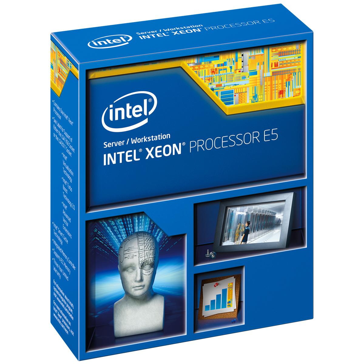 Processeur Intel Xeon E5-2640 v2 (2.0 GHz) Processeur 8-Core Socket 2011 QPI 7.2GT/s Cache 20 Mo 0.022 micron (version boîte/sans ventilateur - garantie Intel 3 ans)