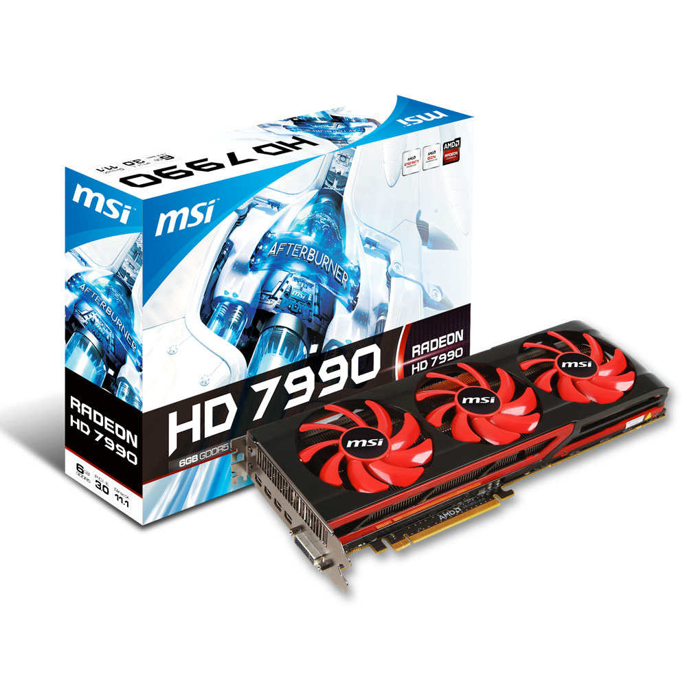 Carte graphique MSI R7990-6GD5 - AMD Radeon HD 7990 6 Go 6144 Mo DVI/Quad Mini-DisplayPort - PCI Express (AMD Radeon HD 7990)