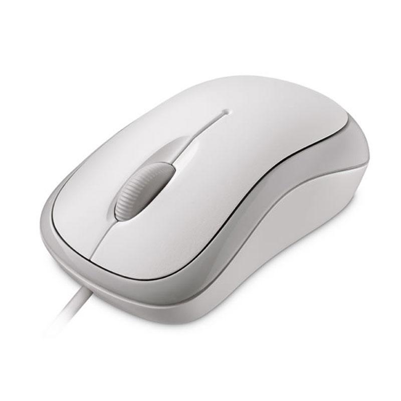 Souris PC Microsoft L2 Basic Optical Mouse Blanche  Souris filaire - ambidextre - capteur optique - 3 boutons programmables