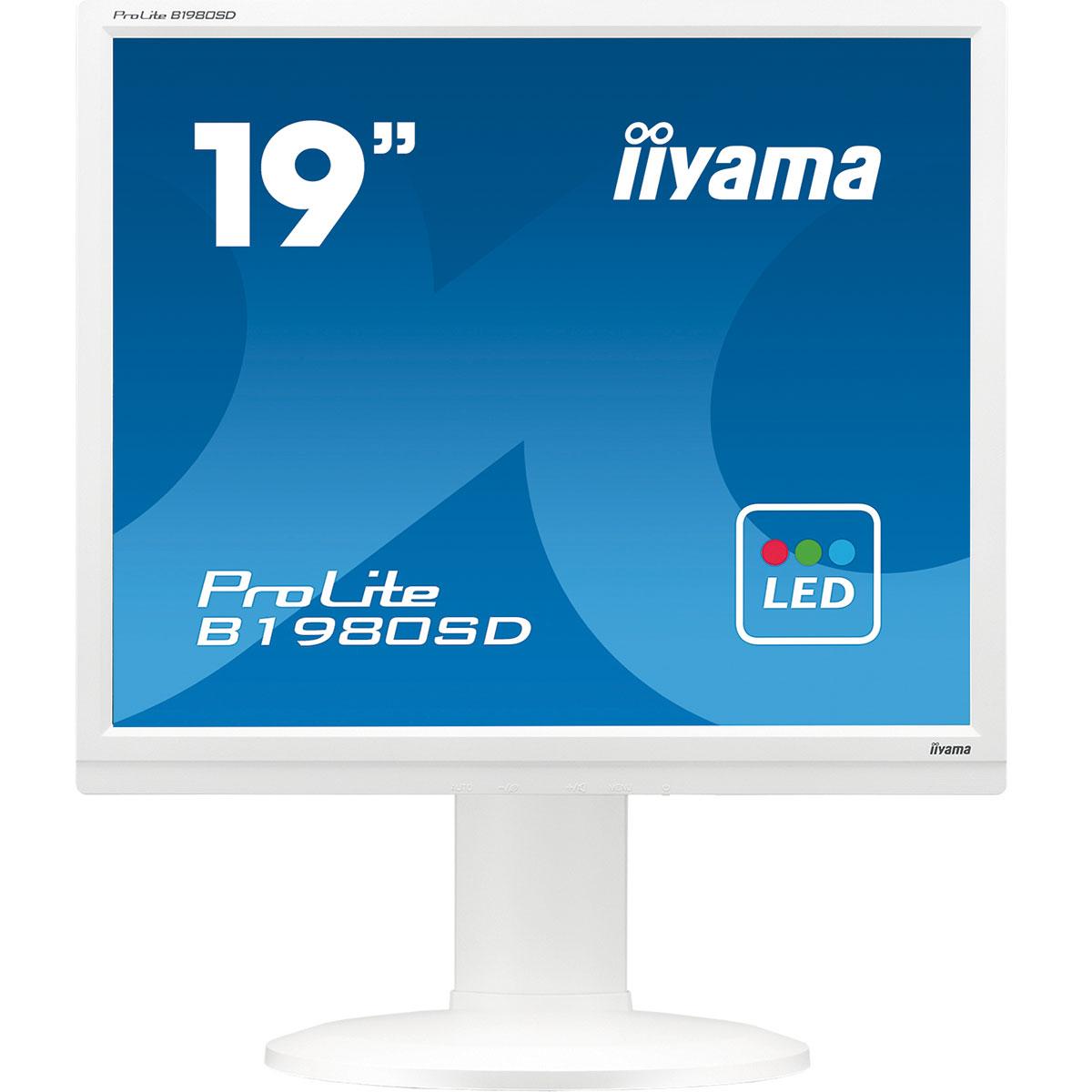 """Ecran PC iiyama 19"""" LED - ProLite B1980SD-W1 1280 x 1024 pixels - 5 ms - Format 4/3 - Pivot - Blanc"""