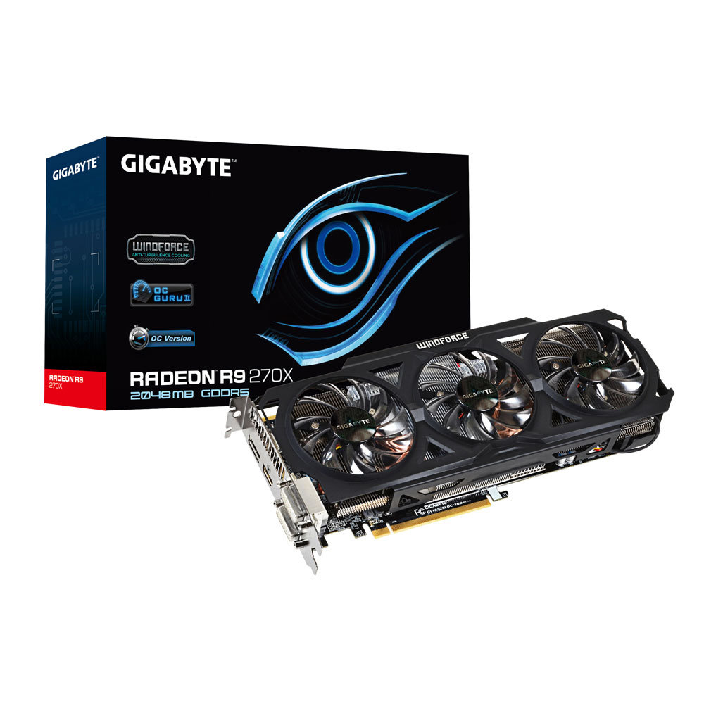 Carte graphique Gigabyte Radeon R9 270X GV-R927XOC-2GD 2 Go Dual DVI/HDMI/DisplayPort - PCI Express (AMD Radeon R9 270X)