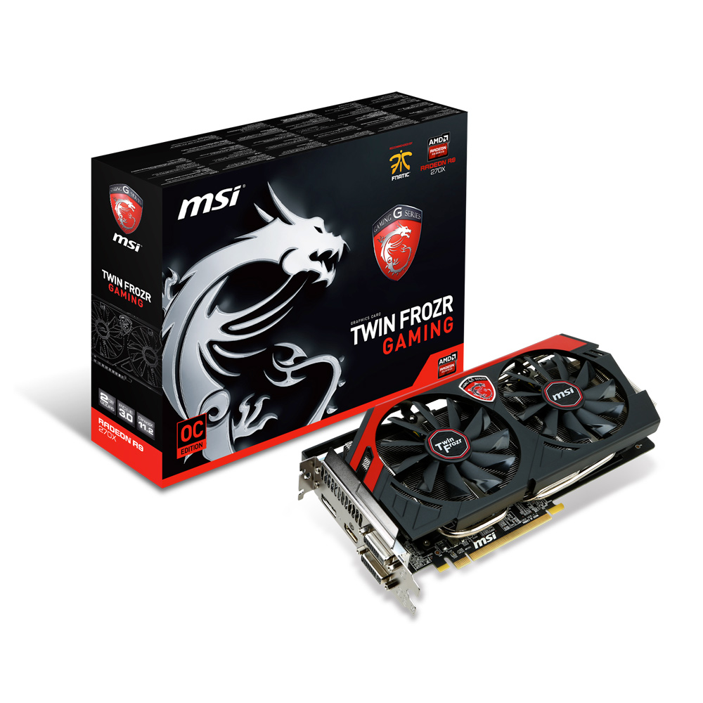 Carte graphique MSI Radeon R9 270X GAMING 2G 2 Go Dual DVI/HDMI/DisplayPort - PCI Express (AMD Radeon R9 270X)